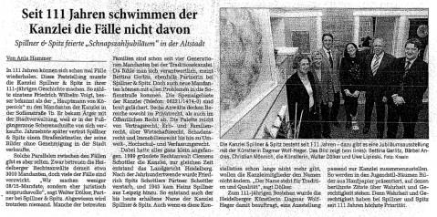 Presseberichte der Kanzlei Spillner & Spitz in Heidelberg - Pressebericht-111Jahre