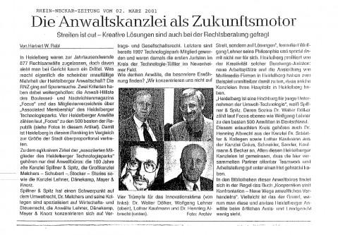 Presseberichte der Kanzlei Spillner & Spitz in Heidelberg - Pressebericht-Zukunftsmotor